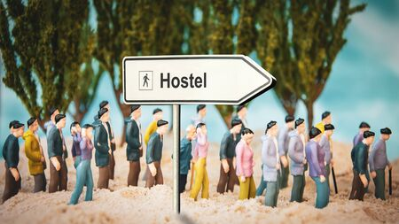 Street Sign the Direction Way to Hostel