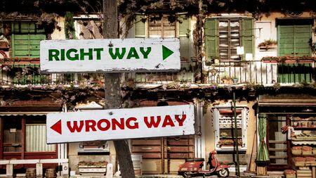 Street Sign RIGHT WAY versus WRONG WAY