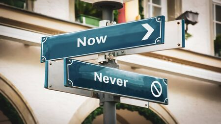 Street Sign the Direction Way to Now versus Never