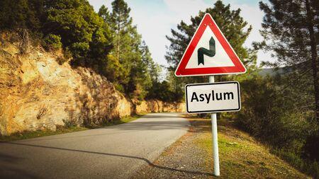 Street Sign the Direction Way to Asylum