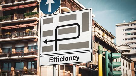Street Sign the Direction Way to Efficiency Stock Photo
