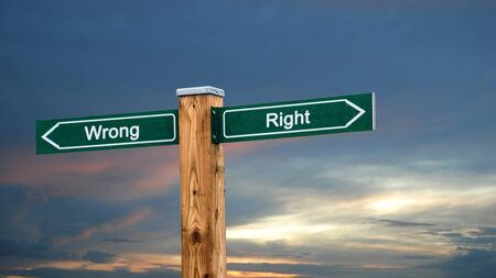 Street Sign the Direction Way to Right versus Wrong Stock fotó