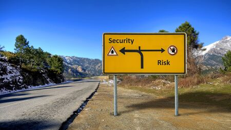 Street Sign the Direction Way to Security versus Risk