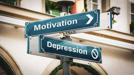 Street Sign the DIrection Way to Motivation versus Depression Archivio Fotografico - 142472411