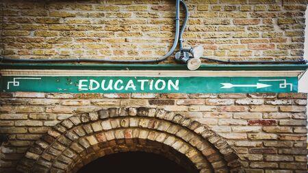 Street Sign the Direction Way to Education 版權商用圖片