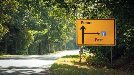 Street Sign the Direction Way to Future versus Past 版權商用圖片