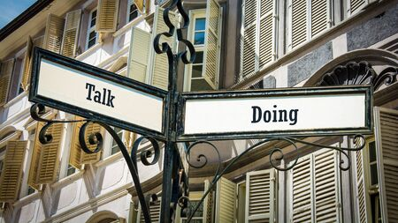 Street Sign the Direction Way to Doing versus Talk