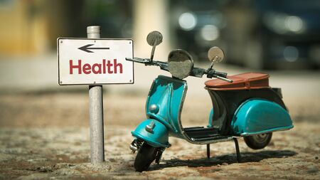 Street Sign the Direction Way to Health