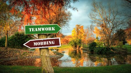 Street Sign the Direction Way to Teamwork versus Mobbing Standard-Bild
