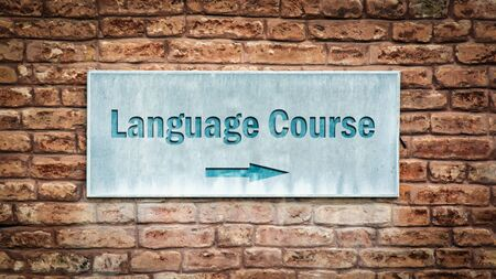 Street Sign the Direction Way to LANGUAGE COURSE