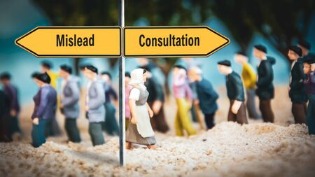 Street Sign the Direction Way to Consultation versus Mislead Stock Photo