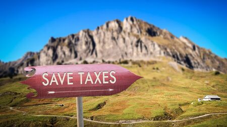 Street Sign the Direction Way to Save Taxes Stok Fotoğraf