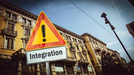 Street Sign the Direction Way to Integration Archivio Fotografico