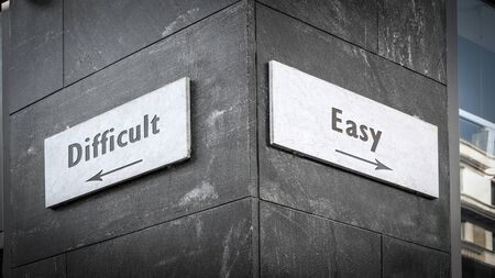 Street Sign the Direction Way to Easy versus Difficult