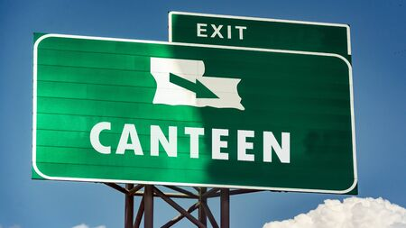 Street Sign the Direction Way to Canteen Imagens