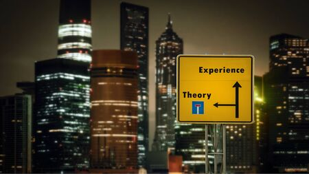 Street Sign the Direction Way to Experience versus Theory Standard-Bild