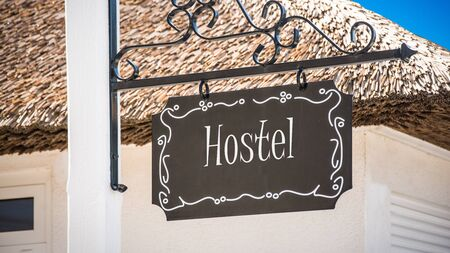 Street Sign the Direction Way to Hostel Stock fotó