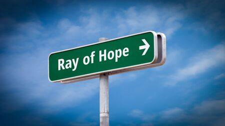 Street Sign the Direction Way to Ray of Hope 版權商用圖片