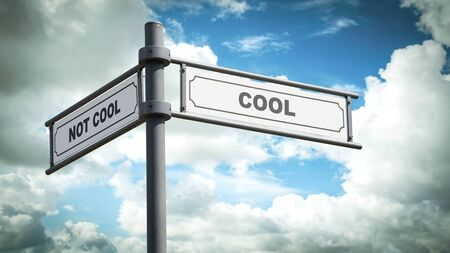 Street Sign the Direction Way to Cool versus Uncool Stock fotó