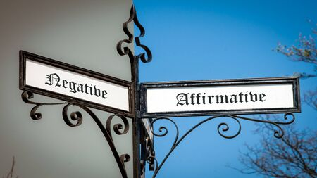 Street Sign theDirection Way to Affirmative versus Negative Stock fotó