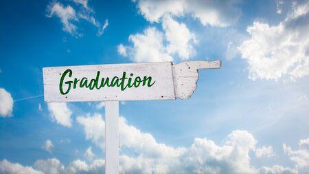 Street Sign the Direction Way to Graduation 免版税图像