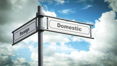 Street Sign the Direction Way to Domestic versus Foreign Stock Photo