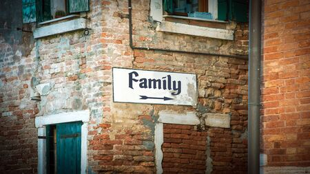 Street Sign the Direction Way to Family Foto de archivo