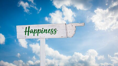 Street Sign the Direction Way to Happiness