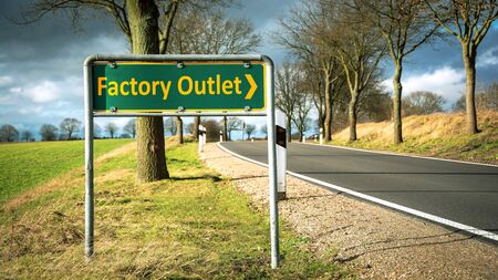 Street Sign the Direction Way to FACTORY OUTLET