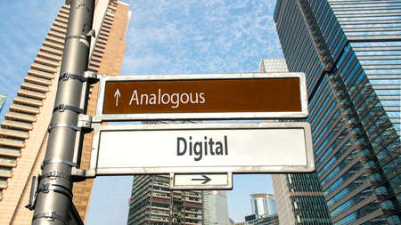 Street Sign the Direction Way to Digital versus Analogous Zdjęcie Seryjne