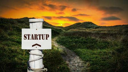 Street Sign the Direction Way to Startup Zdjęcie Seryjne