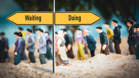 Street Sign the Direction Way to Doing versus Waiting Zdjęcie Seryjne