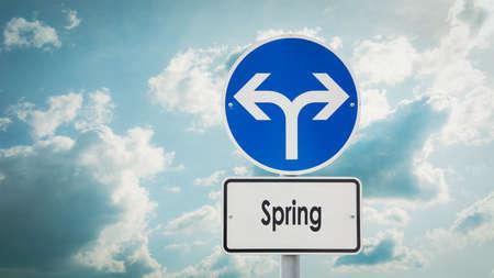Street Sign the Direction Way to Spring Zdjęcie Seryjne