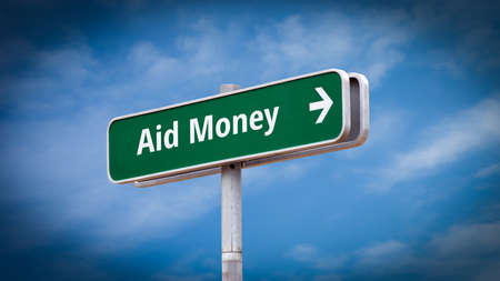 Street Sign the Direction Way to Aid Money