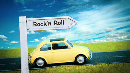 Street Sign the Direction Way to Rockn Roll Zdjęcie Seryjne