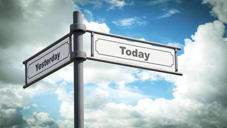 Wall Sign the Direction Way to Today versus Yesterday Zdjęcie Seryjne