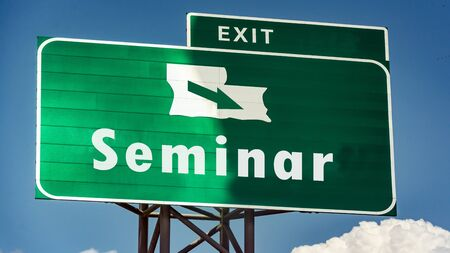 Street Sign the Direction Way to Seminar