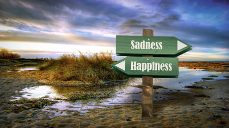 Street Sign the Direction Way to Happiness versus Sadness 免版税图像 - 151120385