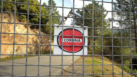 Street Sign the Way to Quarantine versus Virus Фото со стока