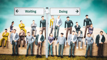 Street Sign the Direction Way to Doing versus Waiting 版權商用圖片 - 151149910