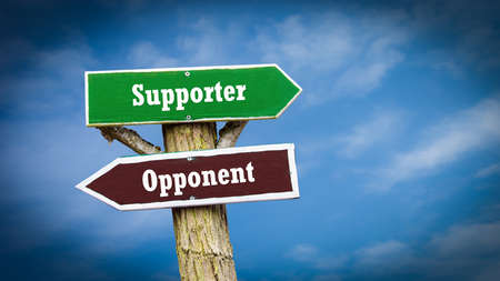 Street Sign the Direction Way to Supporter versus Opponent Stock Photo