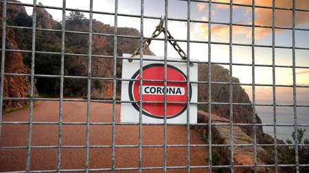 Street Sign the Way to Quarantine versus Virus Standard-Bild