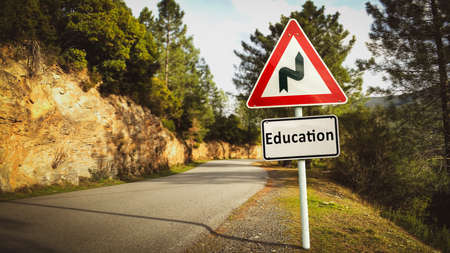 Street Sign the Direction Way to Education