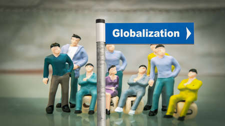 Street Sign the Direction Way to Globalization Stock Photo