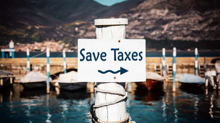 Street Sign the Direction Way to Save Taxes