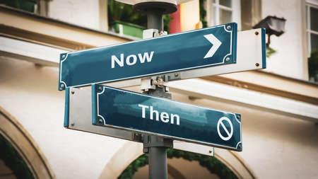 Street Sign the Direction Way to Now versus Then Banco de Imagens