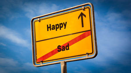 Street Sign the Direction Way to Happy versus Sad