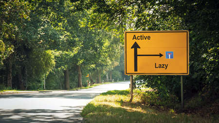 Street Sign the Direction Way to Active versus Lazy Standard-Bild