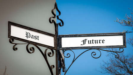 Street Sign the Direction Way to Future versus Past Stock Photo