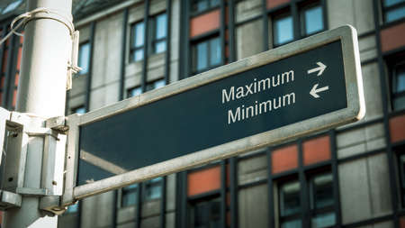 Street Sign the Direction Way to Maximum versus Minimum Archivio Fotografico